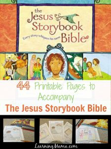 Jesus Storybook Bible Printable Devotional Pages - 44 pages to coordinate with each chapter, complete with chapter headings, copywork Bible verses, and a place for your child to illustrate the Bible story himself!